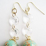 Long Turquoise Gold Spatter Bead & Crystal Drop Earrings