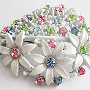 White Enamel & Pastel Rhinestone Leaf Shaped Flower Pin