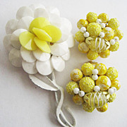 Yellow & White Wired Beaded Springtime Flower Pin and Earrings - Married Set