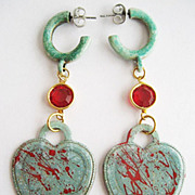 Gothic Verdigris Bloody Heart Padlock & Red Crystal Drop Earrings