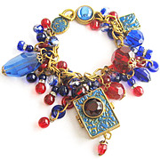 Can You Keep a Secret Charm Bracelet with Ruby Red & Coblat Blue Glass
