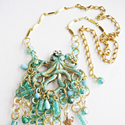 Verdigris Enamel Octopus & Mermaid Drippy Glass Bib Runway Style Necklace