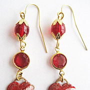 Red Enamel Tattoo Heart Earrings - Swarovski Red Crystals & Czech Glass Beads