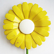 Huge Oversized Yellow & White Enamel Daisy Flower Pin - 5&quot; Tall