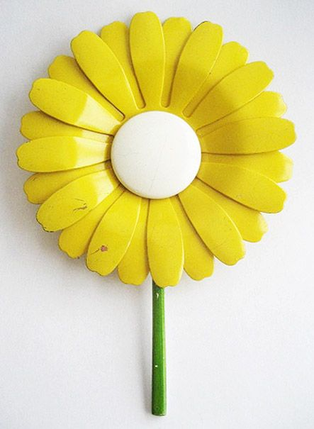 "Huge Oversized Yellow & White Enamel Daisy Flower Pin - 5"" Tall"