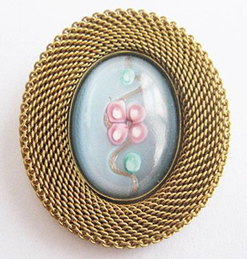 Gold Metal Mesh & Blue and Pink Venetian Glass Cabochon Pin