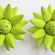 Lime Green Enamel & Peridot Rhinestone Flower Earrings with Clips