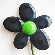 Tall Navy Blue & Lime Green Enamel Mod Flower Pin