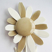 Large Beige & Off White 5&quot; Tall Oversized Flower Pin