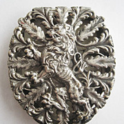 Metal Coin & Token Holder or Case with Heraldic Lion - Signed Napier