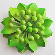 Bright Lime Green Enamel Flower Pin with Stamen Center