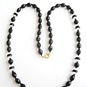 "Opaque Faceted Black & Clear Glass Bead Deco Style 30"" Necklace"