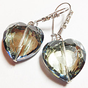 Handmade JuliHeart Faceted Glass Heart & Rhinestone Drop Earrings