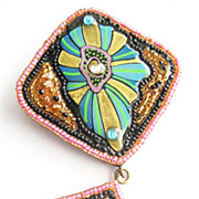 Large Hand Beaded & Painted Artist Designed Dangly Flower Pin