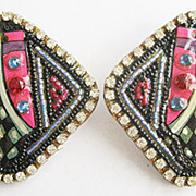 Wild Hand Beaded & Painted Artist Designed Rhinestone Earrings