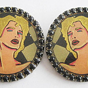 Big Hand Painted 1980's Era New Wave Clip Earrings by Hollee Costume Jewelry