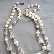 Aurora Prism Crystal & Faux Pearl Glass Bead Double Strand Necklace