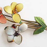 Cold Paint Enamel & Rhinestone Flower Pin - Made in Austria