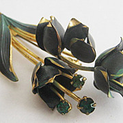 Blue Cold Paint Enamel & Emerald Green Rhinestone Flower Pin - Made Austria