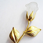 Frosted Plastic Rose Flower Pin with Golden Leaves & Stem