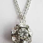 Clear Crystal Rhinestone Ball Pendant Necklace