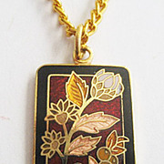 Dainty Cloissane Enamel Pendant Necklace with Autumn Flowers & Leaves