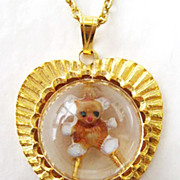 Domed Lucite Cabochon Teddy Bear Heart Pendant Necklace
