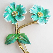 Turquoise Blue Enamel Double Flower Trembler Pin - Refinished