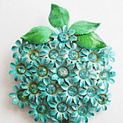 Turquoise Blue Enamel & Rhinestone Flower Cluster Fruit Shaped Pin