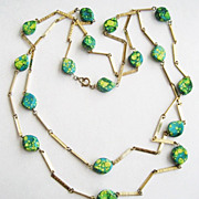 "Turquoise Blue & Lime Green Marbled Spatter 54"" Long Mod Bead Necklace"