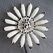 White Enamel & Black Tipped Petals Monochrome Flower Pin