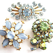 Set of 3 Blue & Peridot Colored Rhinestone Flower Scatter Pins