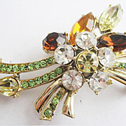 Vintage Rhinestone Abstract Flower Floral Burst Pin - Signed 11W30ST