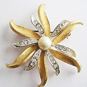 Dancing Petals Crystal Rhinestone Flower Pin - Signed Judy Lee