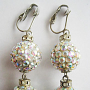 Glitzy Crystal Rhinestone Pave Disco Ball Clip Earrings