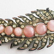 Retro Pink Moonglow Cabochon & Rhinestone Black Enamel Leaf Pin
