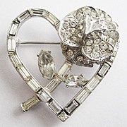 Crystal Rhinestone Baguette Heart & Flower Sweetheart Pin