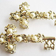 Set of Two Skeleton Key Pins with Faux Pearls & Rhinestones