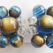 Blue Gold Plastic & Faceted AB Crystal Bead Wired Clip Earrings