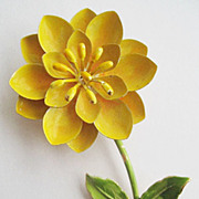 Mod Sunny Yellow Enamel Tall Flower Pin with Green Leaves & Stem