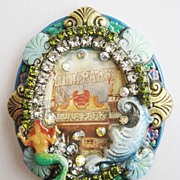 Handmade Coney Island Luna Park Mermaid & Ocean Wave Rhinestone Pin