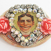 Coney Island NY Tillie Funny Face Souvenir Rhinestone Pin with Flowers