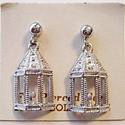 Dainty Bird Cage or Window with Candle Drop Earrings - 14K Posts