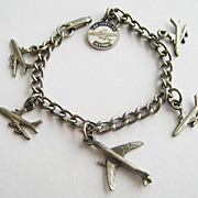 Los Angeles Jet Port Souvenir Charm Bracelet with Airplanes - LAX Jetport Planes
