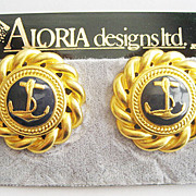 Navy Blue Enamel Nautical Rope Edge Anchor Clip Earrings by Aloria