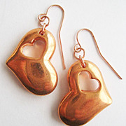 Copper Cutout Drop Heart Earrings - Rose Gold Color