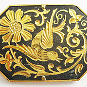 Japanese Damascene Black & Gold Bird & Flowers Pin with Trumpet Clasp