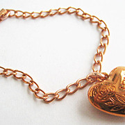 Copper Puffy Heart Charm Bracelet - Love Valentine Sweetheart