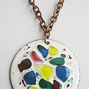 Abstract Copper Enamel & Fused Glass Pendant Necklace
