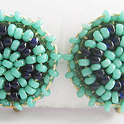Petite Indian Seed Beaded Turquoise & Blue Bead Screwback Earrings